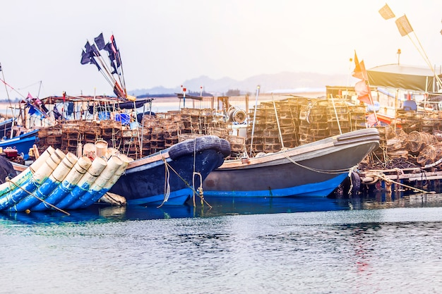 The large fisheries harbor, full of boats and trawlers