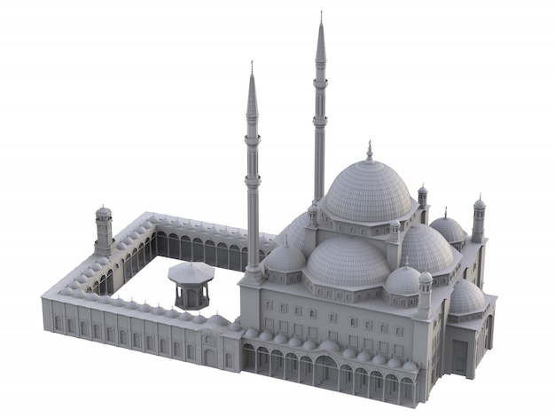 A large muslim mosque, a three-dimensional raster illustration with contour lines highlighting the details of construction. 3d rendering. Premium Photo
