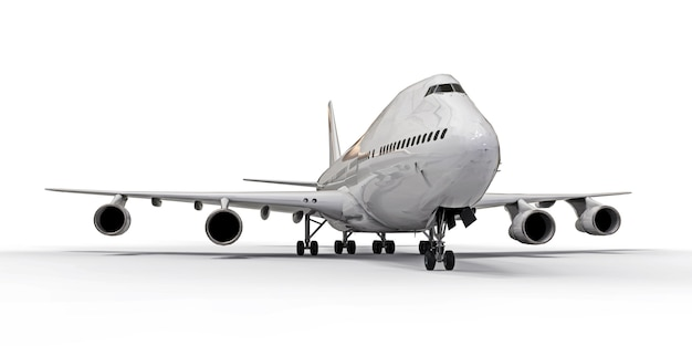 Large passenger aircraft of large capacity for long transatlantic flights. white airplane on white isolated surface Premium Photo
