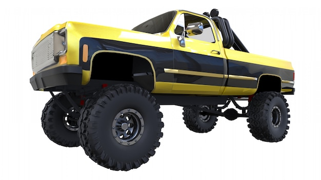 Large pickup truck off-road. full - training. highly raised suspension. huge wheels with spikes for rocks and mud. 3d illustration. Premium Photo