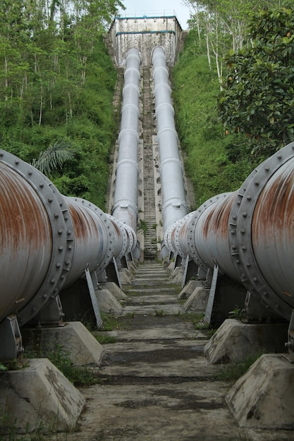 Large Pipe To Connect The River Dutch Relic In Kepanjen Malang East Java Indonesia Premium Photo