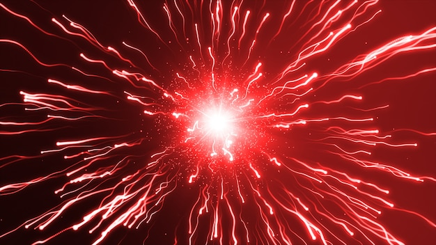 A large red explosion particles under a microscope Premium Photo