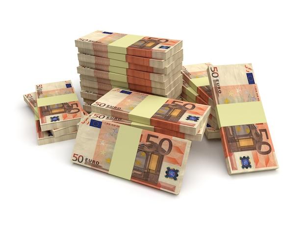 Large stack of euro money isolated on white background Premium Photo