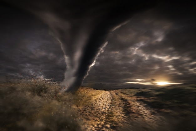 Large tornado disaster Premium Photo