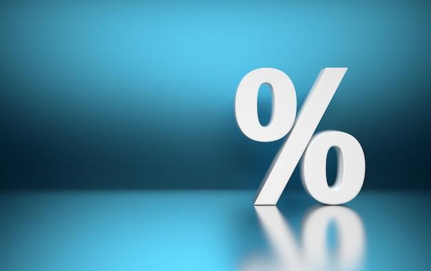 Large white percent percentage sign symbol standing on blue blurred shiny reflective surface. Premium Photo