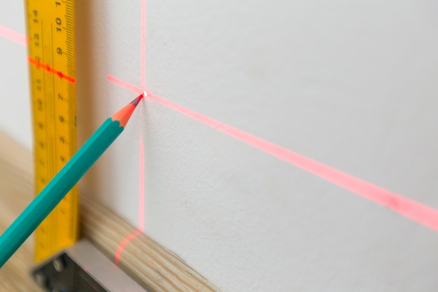 Laser level and lines on the wall Premium Photo