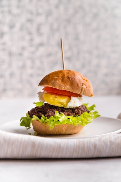 Lateral view delicious home made burger Free Photo