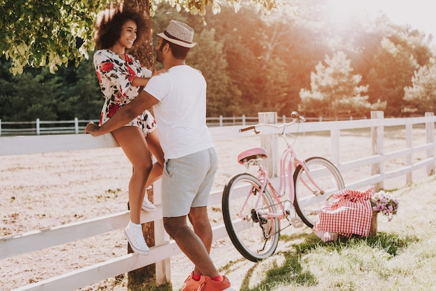 Latin couple happy together in park Premium Photo