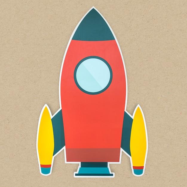 Lanciare l'icona del razzo isolata Foto Gratuite