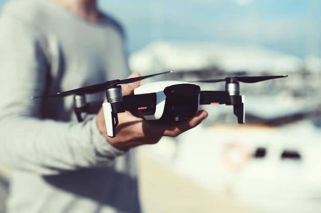 Launch and view quadrocopter, drone Premium Photo