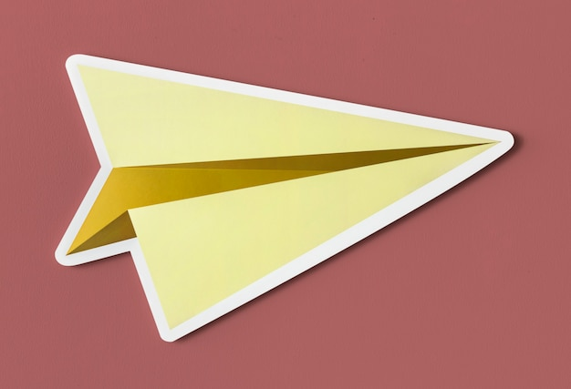 Launching paper plane cut out icon Free Photo