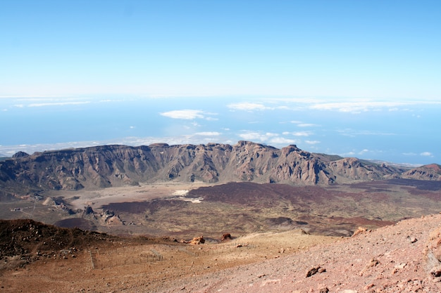Lava and peak of teide volcano. tenerife, canary islands, spain Premium Photo