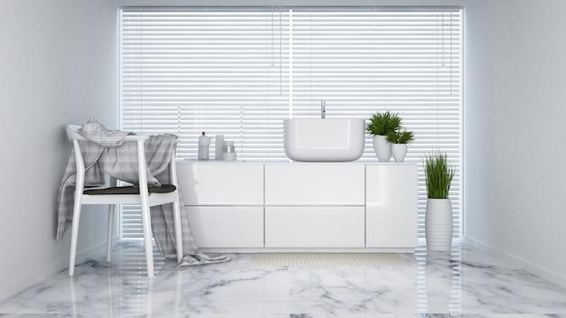 Lavatory white tone in apartment or hotel - 3d rendering Premium Photo