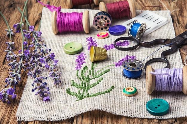 Lavender bouquet embroidery Premium Photo