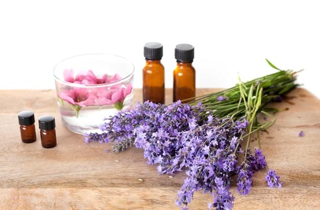 Lavender and essential oils Premium Photo