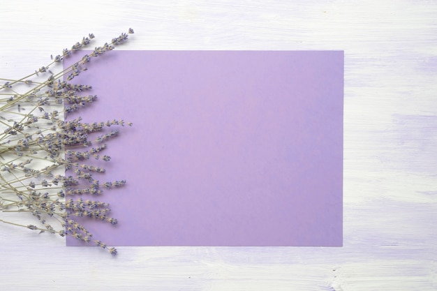 Lavender flower over the purple background against the wooden texture Free Photo