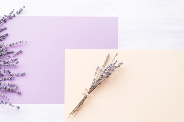 Lavender flower over the purple and peach paper on backdrop Free Photo