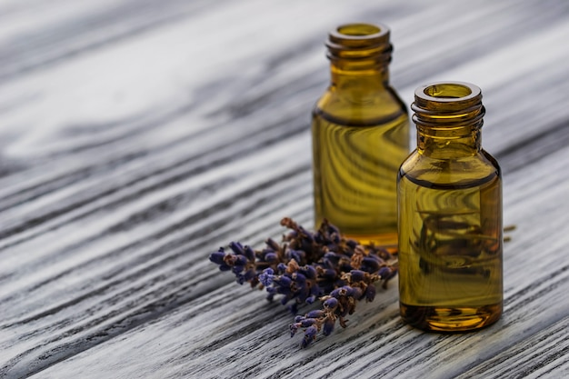 Lavender oil in glass bottle Premium Photo