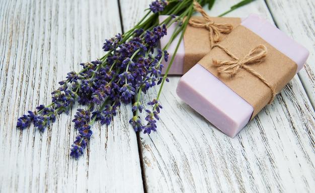 Lavender with soap Premium Photo