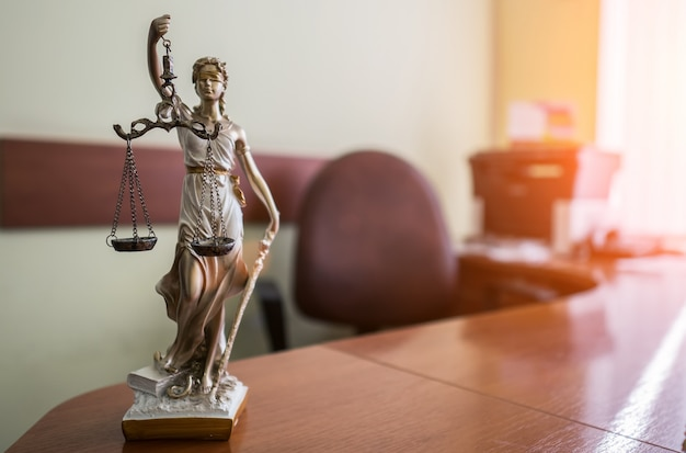 Law and justice concept. mallet of the judge, books, scales of justice.  courtroom theme. Premium Photo