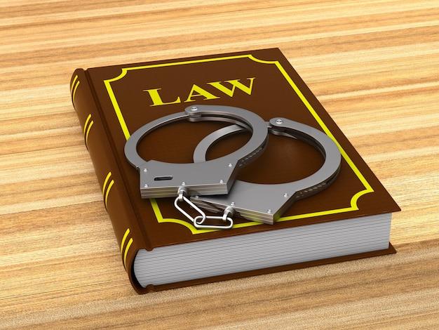 Lawbook and handcuffs. 3d illustration Premium Photo