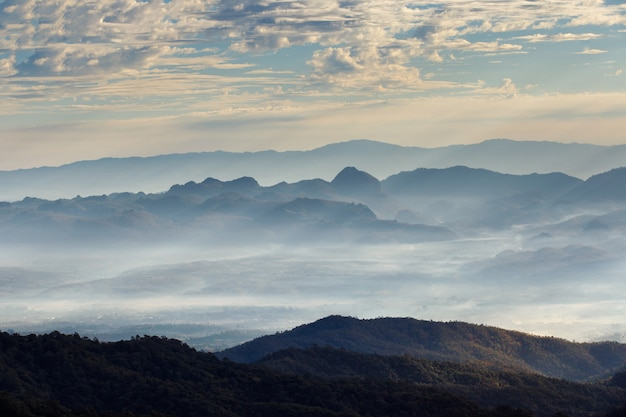 Layer of mountains and mist at sunrise time, landscape at doi luang chiang dao Premium Photo