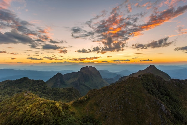 Layer of mountains and mist at sunset time, landscape at doi luang chiang dao Premium Photo