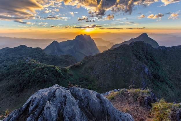 Layer of mountains and mist at sunset time, landscape at doi luang chiang dao, Premium Photo