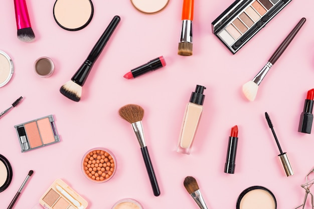 Free Photo | Layout of cosmetic and makeup beauty products