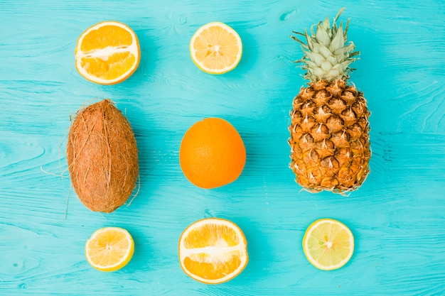 Layout of fresh tropical fruits Free Photo