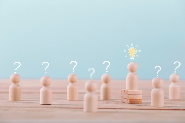 Leader get a new idea a brainstorming planning and strategy in competition success play , concept strategy and successful management or leadership Premium Photo
