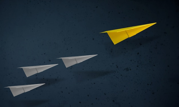 Leadership concept. unique paper plane leading the other. goals and success in business Premium Photo
