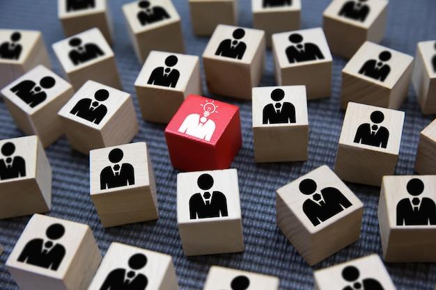 Leadership graphics icons on wooden blocks. Premium Photo
