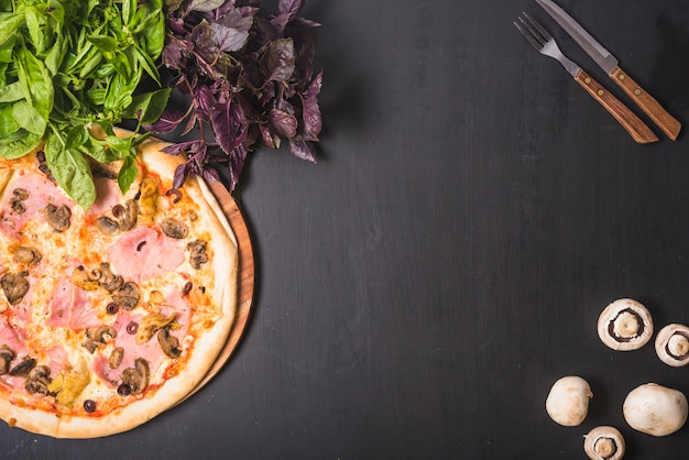 Leafy vegetable; mushroom and pizza with cutlery on dark backdrop Free Photo