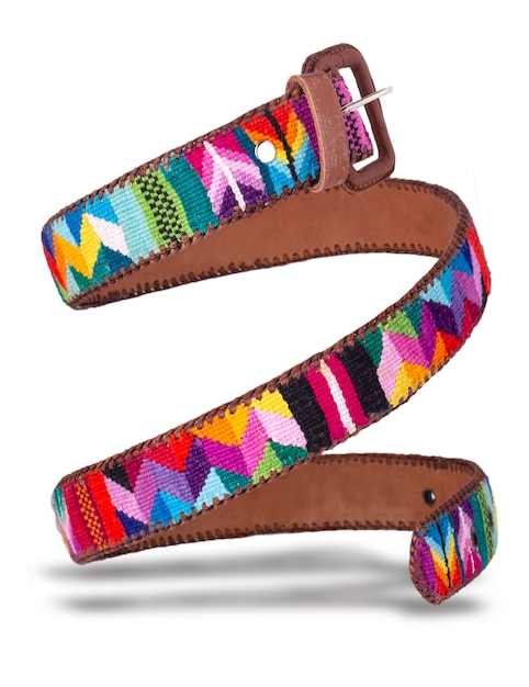 The leather belt made of colored fabric from ecuador coiled Premium Photo