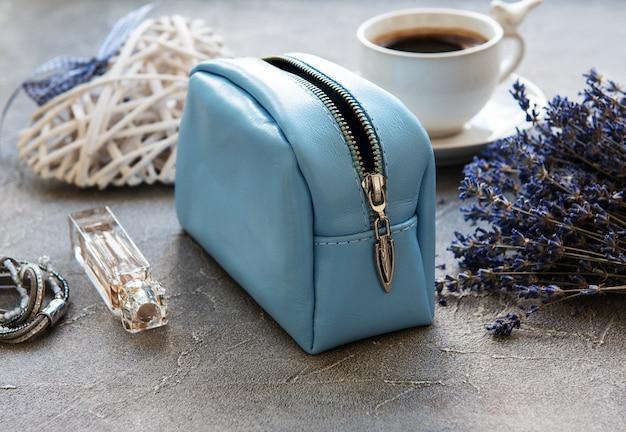 Leather cosmetic bag Premium Photo