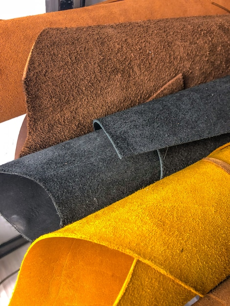 Leather goods. workshop for the manufacture of clothing and accessories. Premium Photo