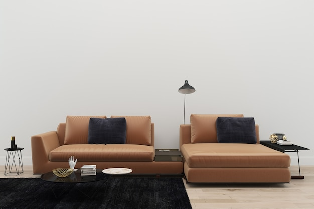 Fabulous Leather Sofa Living Room Black Rug Modern 3D Render Alphanode Cool Chair Designs And Ideas Alphanodeonline