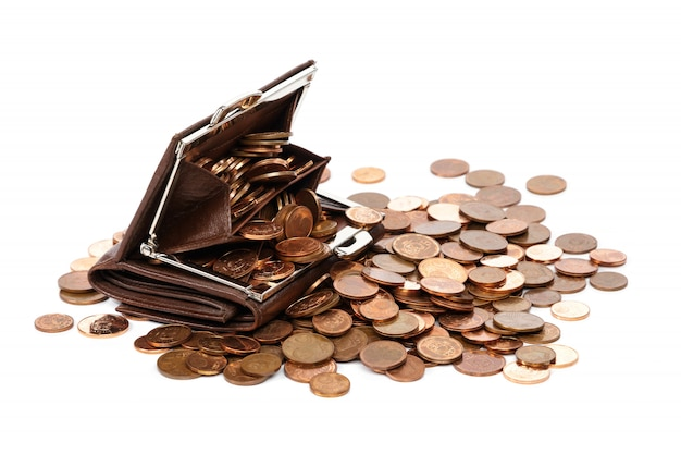 Leather wallet with a lot of euro cent coins Premium Photo
