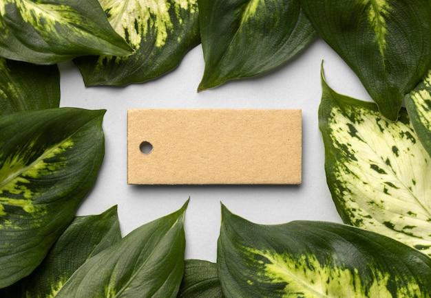 空のタグを持つ葉と植物の配置 Premium写真