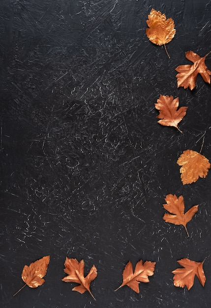 Leaves stained with gold paint on black Premium Photo