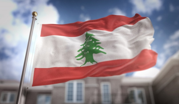 Lebanon flag 3d rendering on blue sky building background Premium Photo