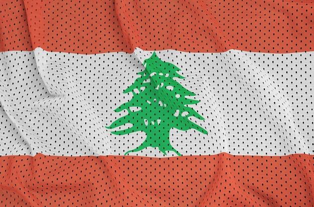 Lebanon flag printed on a polyester nylon sportswear mesh fabric Premium Photo