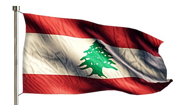 Lebanon national flag isolated 3d white background Free Photo