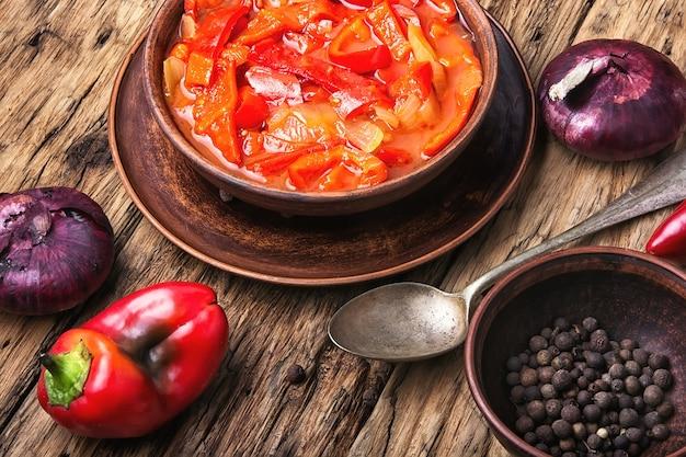Lecso classic dish of hungarian cuisine Premium Photo