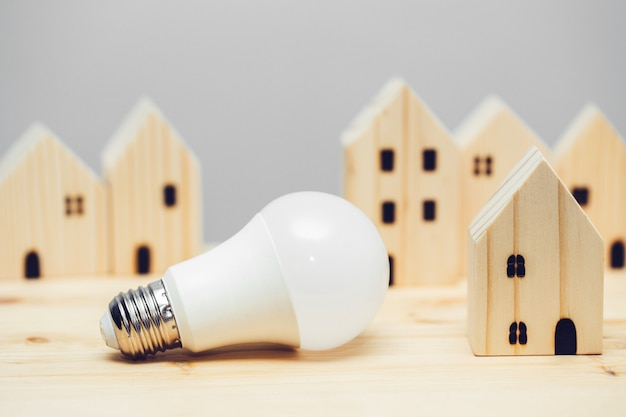 Led lightbulb with wooden home decoration for eco house lighting low power consumption and saving en