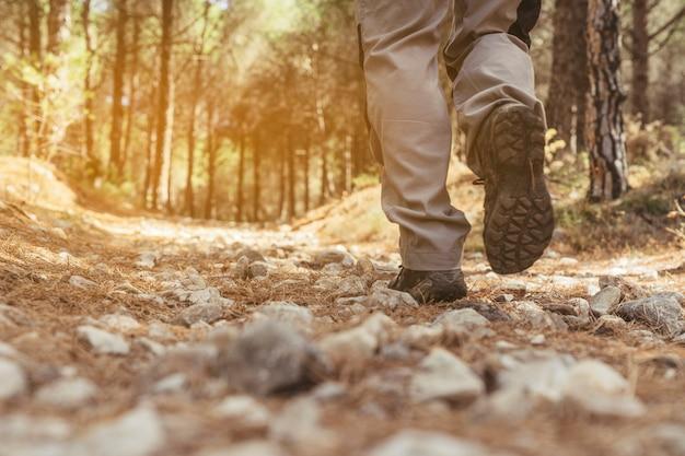 Leg view of hiker Free Photo