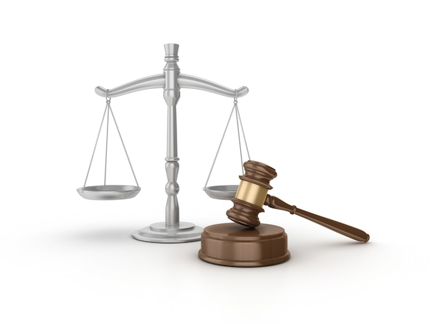 Legal gavel with weight scale Premium Photo