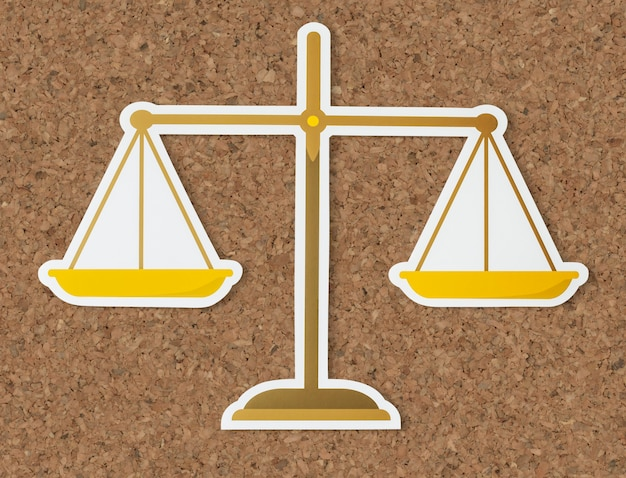 Legal scale of justice icon Free Photo