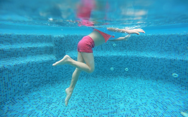 The legs of child girl view from under water. Premium Photo